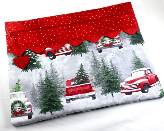 Snowy Red Truck Cross Stitch Project Bag