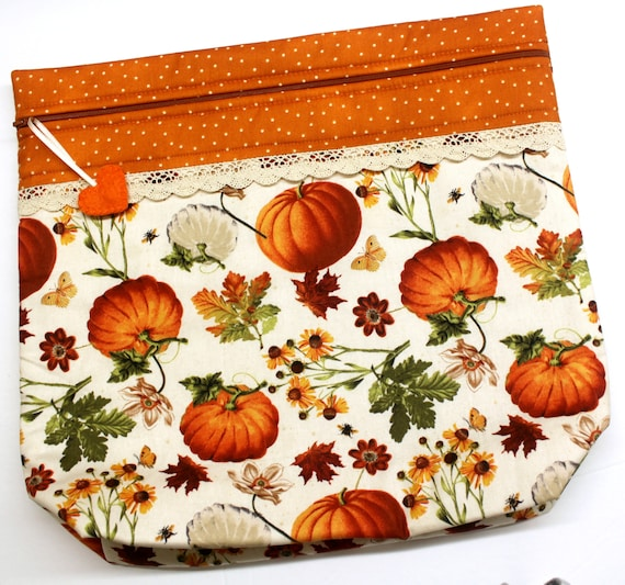 MORE2LUV  Pumpkin Fields Cross Stitch Project Bag
