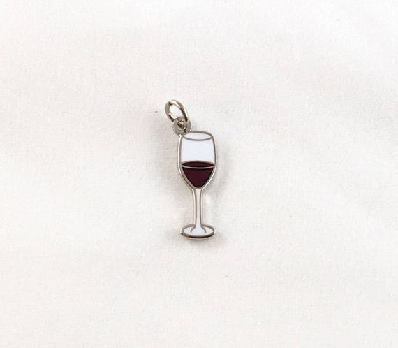 "Wine Glass 1/2"" Enamel Charm"