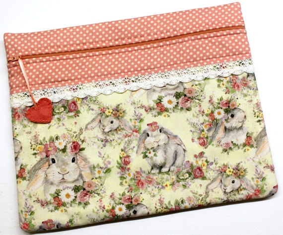 Flower Crown Bunnies Cross Stitch Project Bag