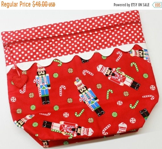 SALE Big Bottom Red Nutcrackers  Cross Stitch Project Bag