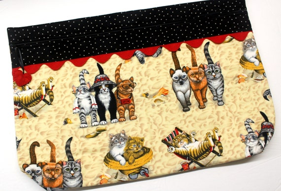 LOTS2LUV Cats at the Beach Cross Stitch Project Bag