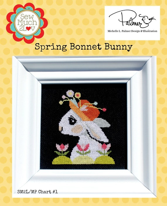 Spring Bonnet Bunny Cross Stitch Chart