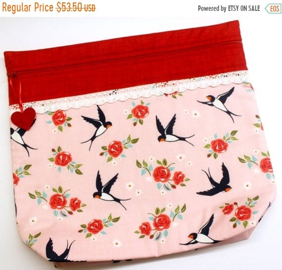 SALE MORE2LUV Darling Swallows Cross Stitch Project Bag