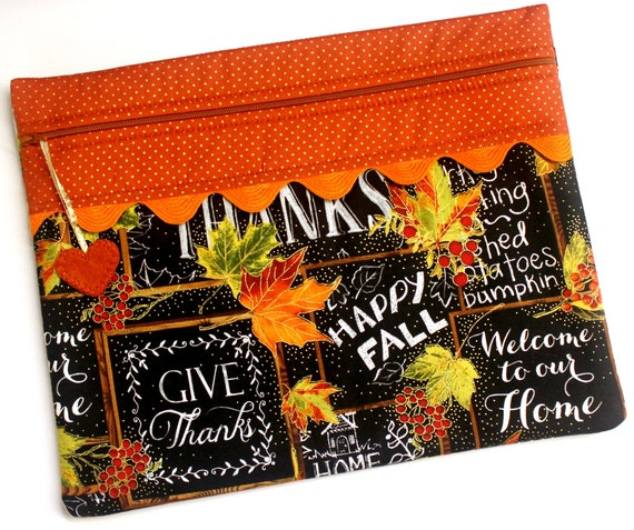 Thankful Chalk Art Cross Stitch Project Bag