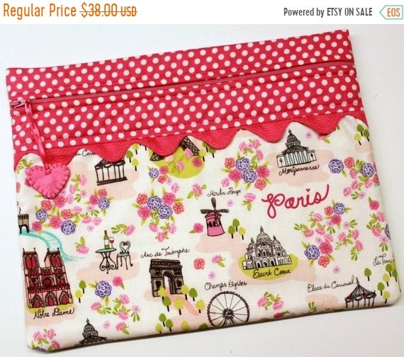 SALE Paris in Pink Cross Stitch Project Bag