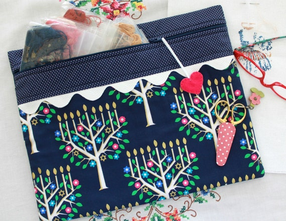 Navy Blue Hanukkah with Golden highlights Cross Stitch, Sewing, Embroidery Project Bag