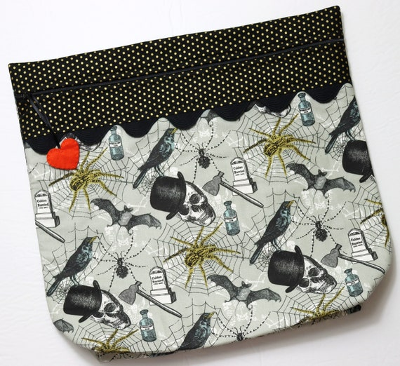 MORE2LUV Golden Spiders Halloween Project Bag