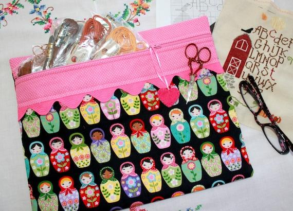 Matryoshka Dolls Cross Stitch Project Bag