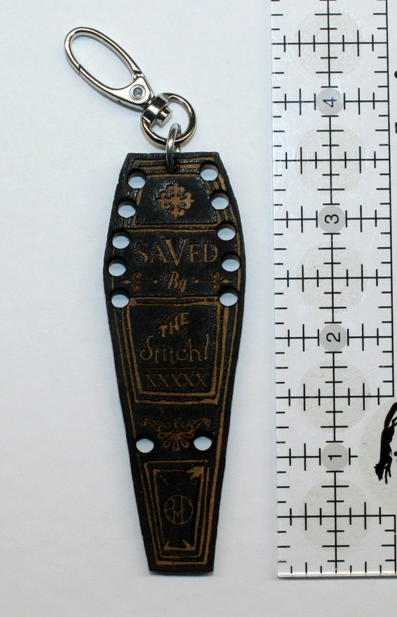 Wooden Coffin Scissor Fob/Thread Keeper