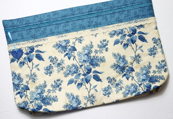 LOTS2LUV Lilacs in Blue Cross Stitch Project Bag