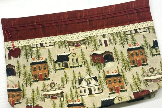 LOTS2LUV Hometown Holiday Cross Stitch Project Bag
