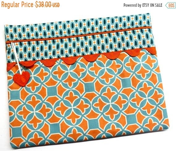 SALE Teal Orange Modern Cross Stitch Project Bag