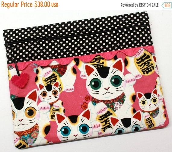 SALE Indochine Fuku Kitty Lucky Cat Cross Stitch Project Bag