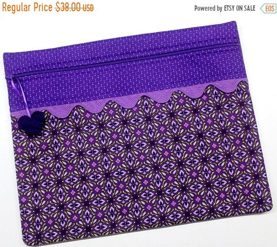 SALE Purple Boho Cross Stitch Project Bag