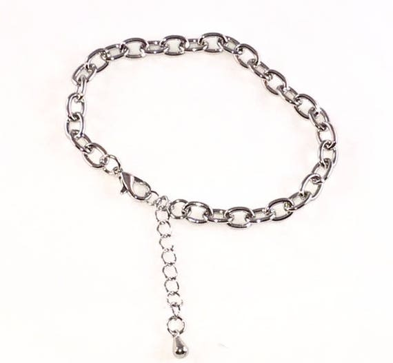 Rhodium Plated Adjustable Charm Bracelet