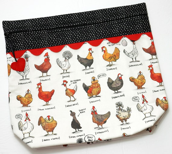 MORE2LUV I Heart Chickens Cross Stitch Project Bag