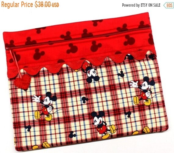 SALE Plaid Mickey Cross Stitch Project Bag