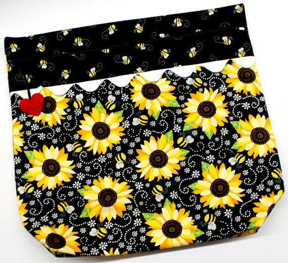 MORE2LUV Sunflowers & Bees Cross Stitch Project Bag