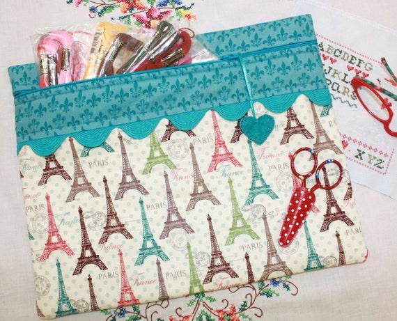 Paris Polka Dots Cross Stitch Project Bag