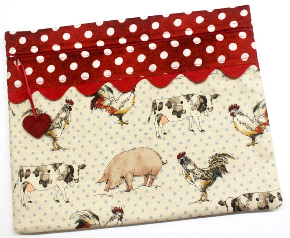 Polka Dot Barnyard Cross Stitch Embroidery Project Bag