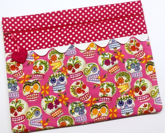 SALE Pink Sugar Skulls Cross Stitch Project Bag