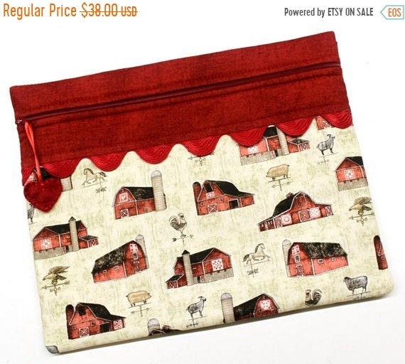 SALE Farmhouse Barns Cross Stitch Project Bag