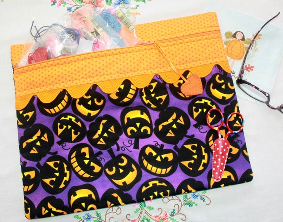 Jack Attack Halloween Cross Stitch Project Bag