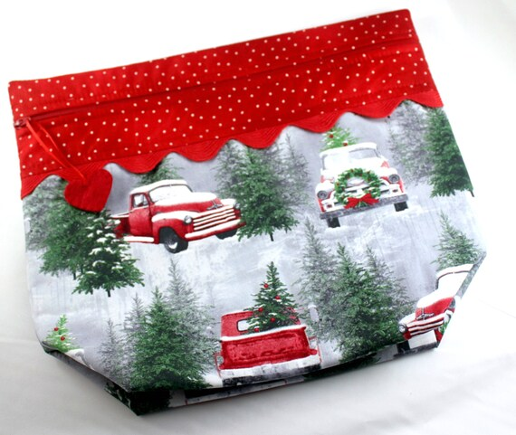 Big Bottom Snow Red Truck Cross Stitch Project Bag