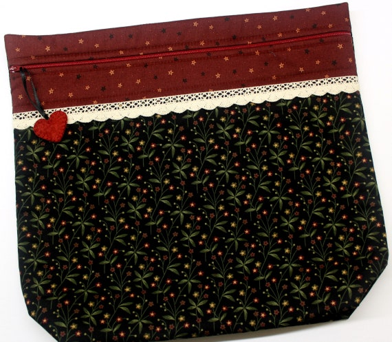 MORE2LUV Primtive Black Floral Cross Stitch Project Bag
