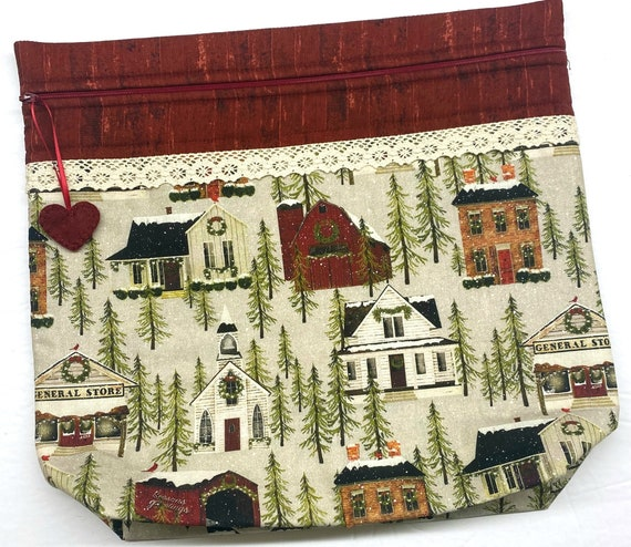 MORE2LUV Hometown Holiday Cross Stitch Project Bag