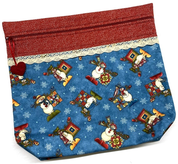 MORE2LUV Snowmen & Quilts Cross Stitch Project Bag