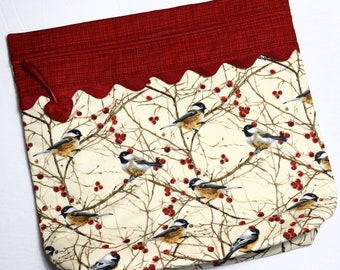 MORE2LUV Winter Chickadees Cross Stitch Project Bag