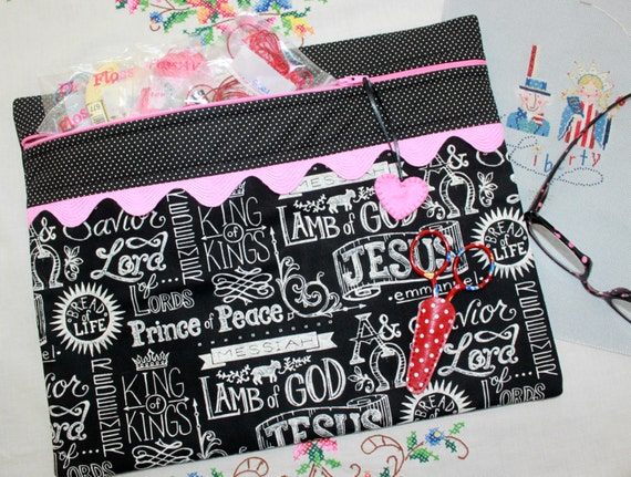 Jesus Chalk Art You Choose Colors Cross Stitch Project Bag