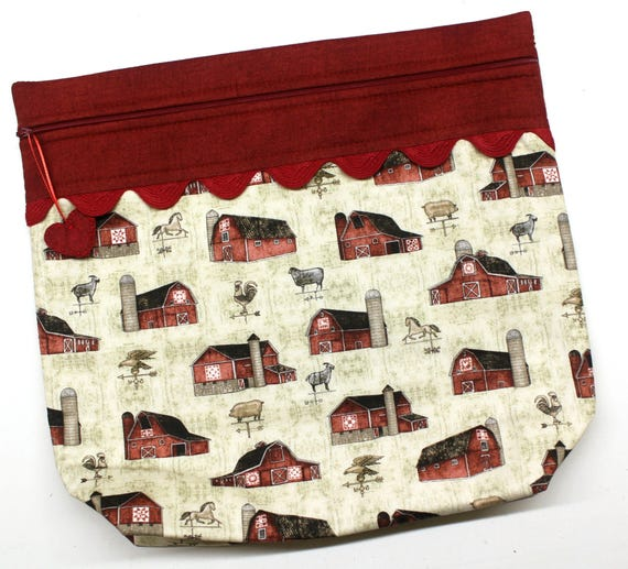 MORE2LUV Farmhouse Barns Cross Stitch Project Bag