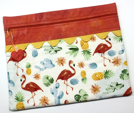 Flamingos and Pineapples Cross Stitch Project Bag