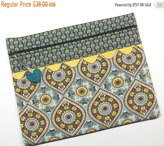 SALE Teal/Gray Boho Cross Stitch Project Bag