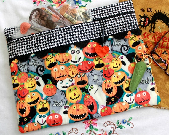 Scared Silly Pumpkins Cross Stitch, Sewing, Embroidery Project Bag