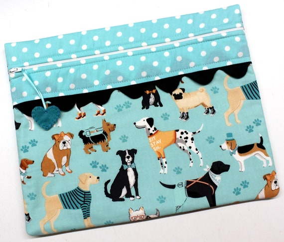Teal Dog Buddies Cross Stitch Project Bag