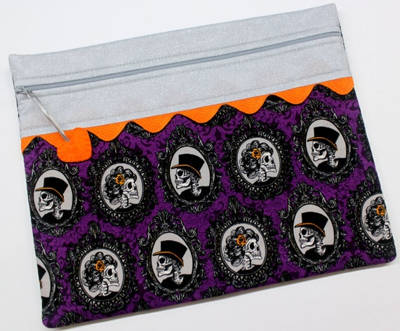 Silver Purple Halloween Portraits Cross Stitch Project Bag