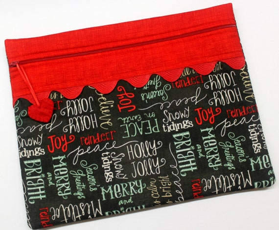 Christmas Chalk Words Cross Stitch Project Bag