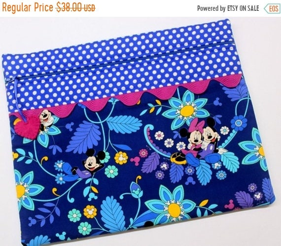 SALE Blue Mickey Minnie Cross Stitch Project Bag