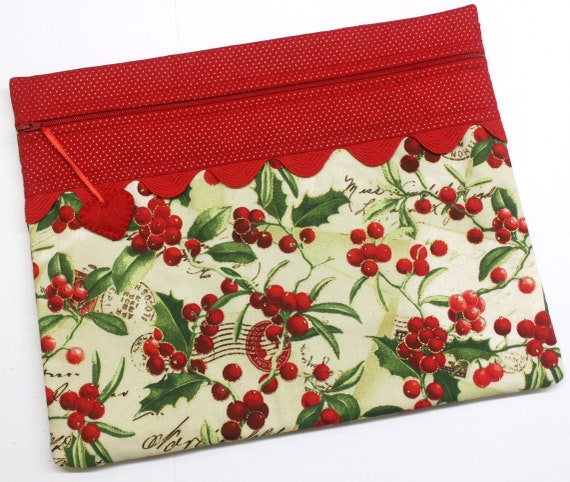 Glittering Holly Berries Cross Stitch Project Bag