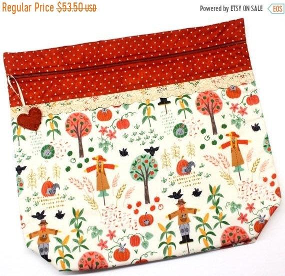 SALE MORE2LUV Pumpkin Patch Cross Stitch Project Bag