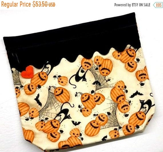 SALE MORE2LUV Cats, Bats and Jack-o-lanterns Cross Stitch Project Bag