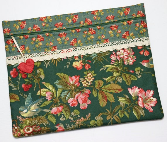 Green Tapestry Cross Stitch Project Bag