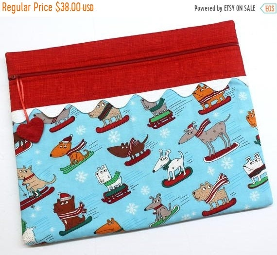 SALE Hot Dog Skiers Cross Stitch Project Bag