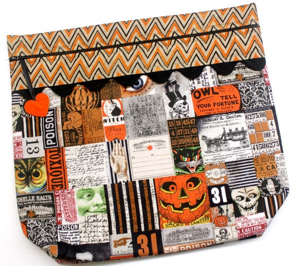 MORE2LUV Halloween Vintage Patchwork Cross Stitch Project Bag