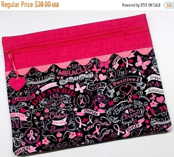 SALE Breast Cancer Chalk Art Cross Stitch Project Bag