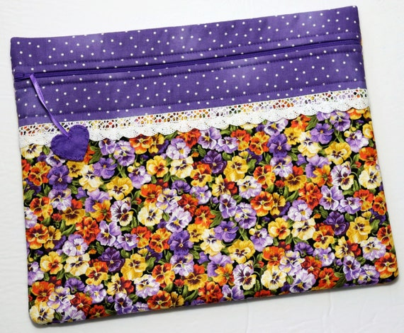 Pansies Cross Stitch Project Bag